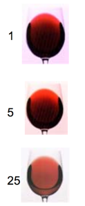 Color changes in 1, 5, and 25 year-old wines.  This is the only adequate picture of this phenomenon I could find.  img from G. Sacks, Cornell Univ.