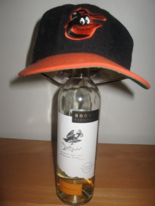 Old school cartoon Oriole looks happy about this wine, but he is dying inside.