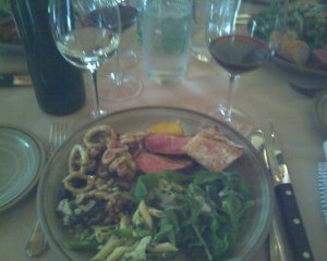 Delish lunch, also at Shinn, featuring Peconic Bay squid, our second dose of asparagus for the day, and duck to die for.