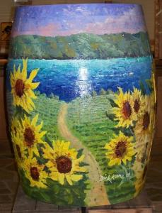 A painted barrel in the Fulkerson tasting room, from the winery website
